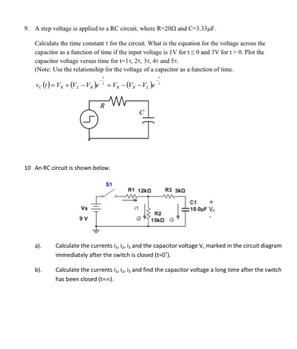 Solved  A Step Voltage Is Applied To A Rc Circuit  Where R