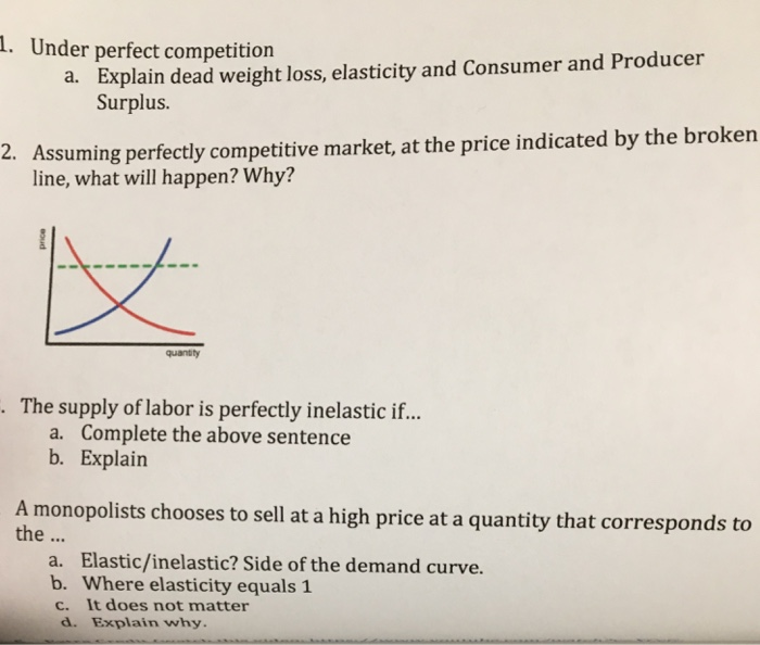 Question: Under perfect competition  a. Explain dead weight loss, elasticity and Consumer and Producer Surp...