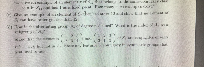 Solved Ii Give An Example Of An Element T Of Si2 That Be