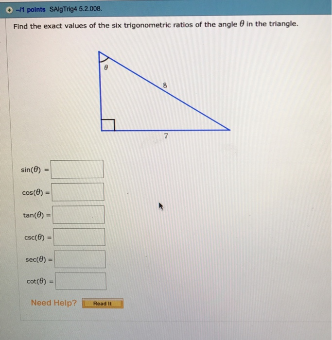 how to find the values of the six trigonometric ratios