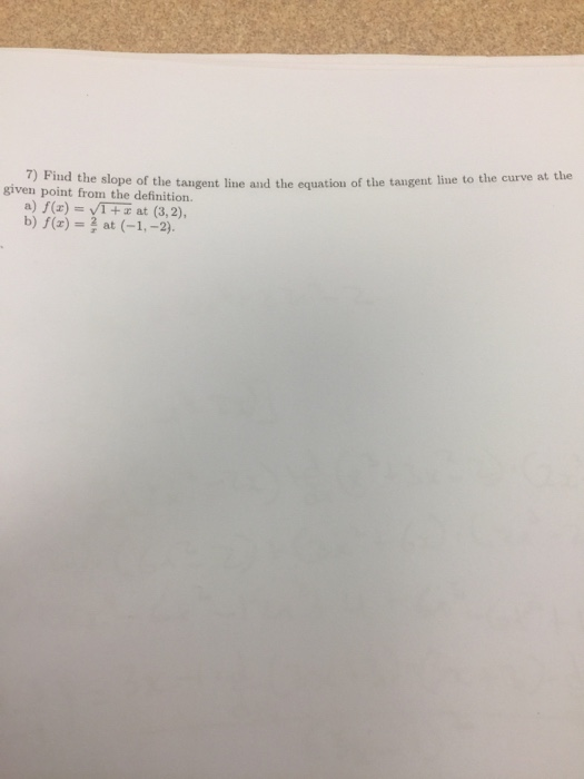 how to find slope of the tangent to the curve