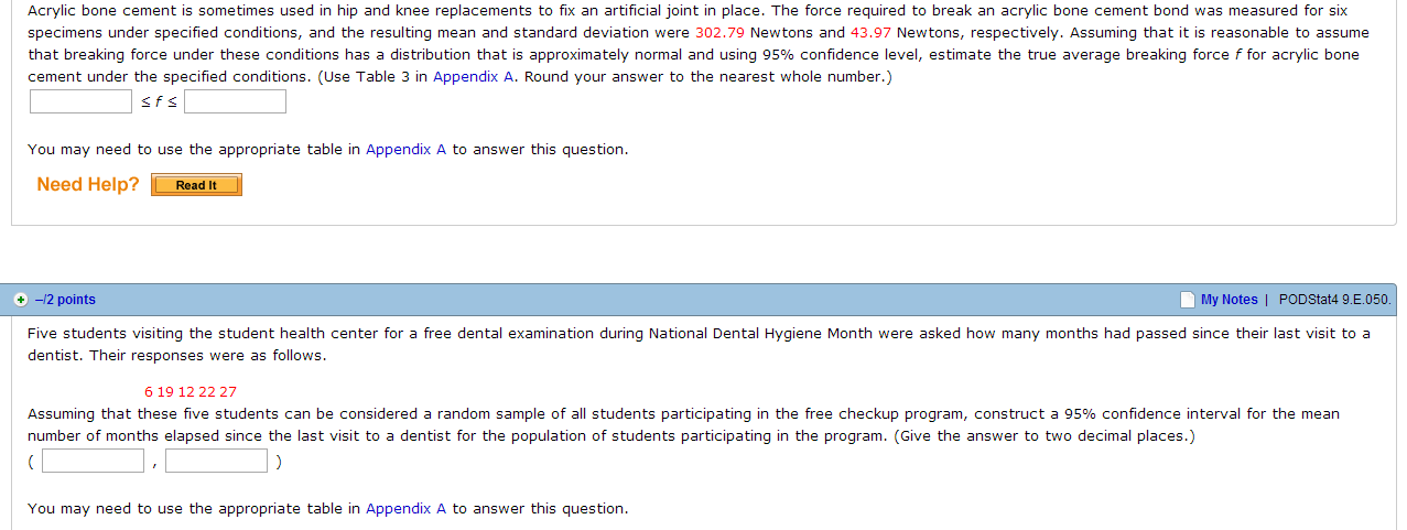 Need help with statistics homework