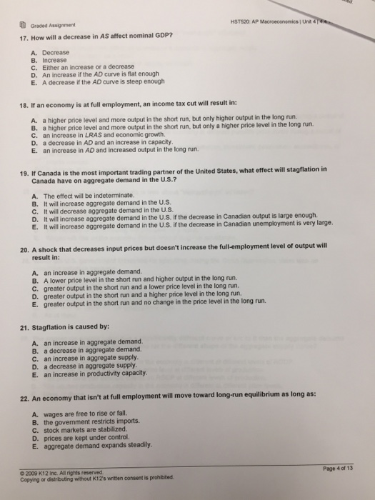 macroeconomics short essay questions