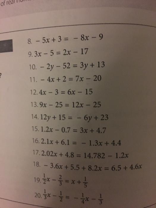 Solved: - 5x + 3 = - 8x - 9 3x - 5 = 2x - 17 - 2y - 52 = 3