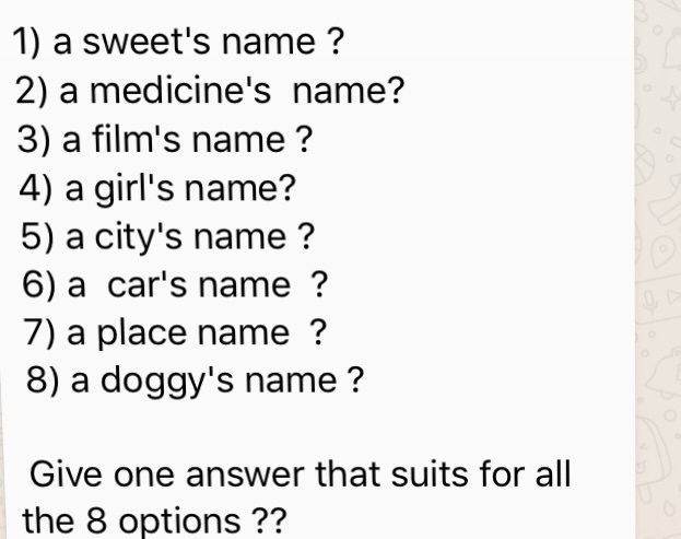 Car Names For Girls: Solved: A Sweet's Name? A Medicine's Name? A Film's Name