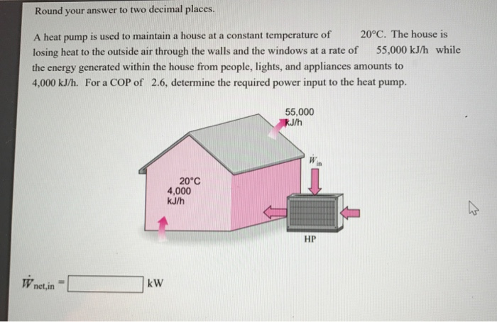 Question: Round Your Answer To Two Decimal Places. A Heat Pump Is Used To  Maintain A House At A Constant Te.