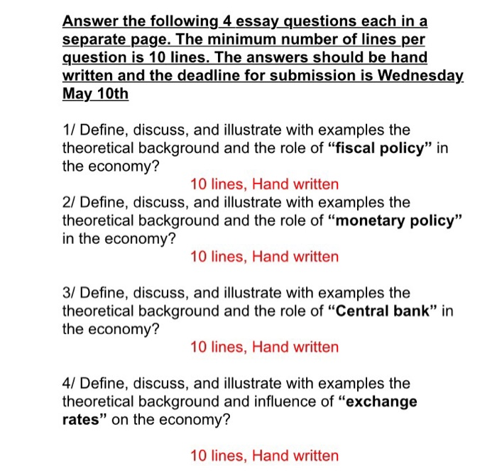 answer the following 4 essay questions each in a separate page the minimum number of - Background Essay Example
