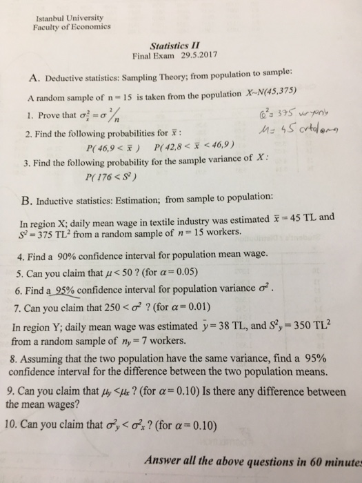practice question and answer final statistics Statistics 110/201 practice final exam key practice final exam, statistics 110/201, page 2 of 7 multiple choice questions circle the best answer.