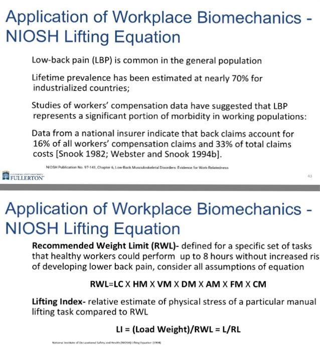 Solved: Using NIOSH Lifting Equation Find: Lifting Index U ...
