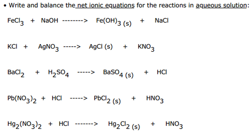 Free Worksheets net ionic reactions worksheet : Write And Balance The Net Ionic Equations For The ...