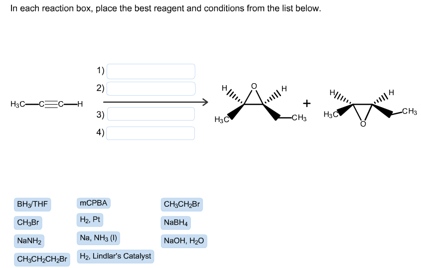 in each reaction box place the best reagent and conditions from the list below oh - photo #4