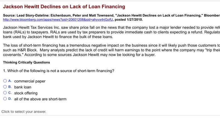 Solved: Jackson Hewitt Declines On Lack Of Loan Financing ...
