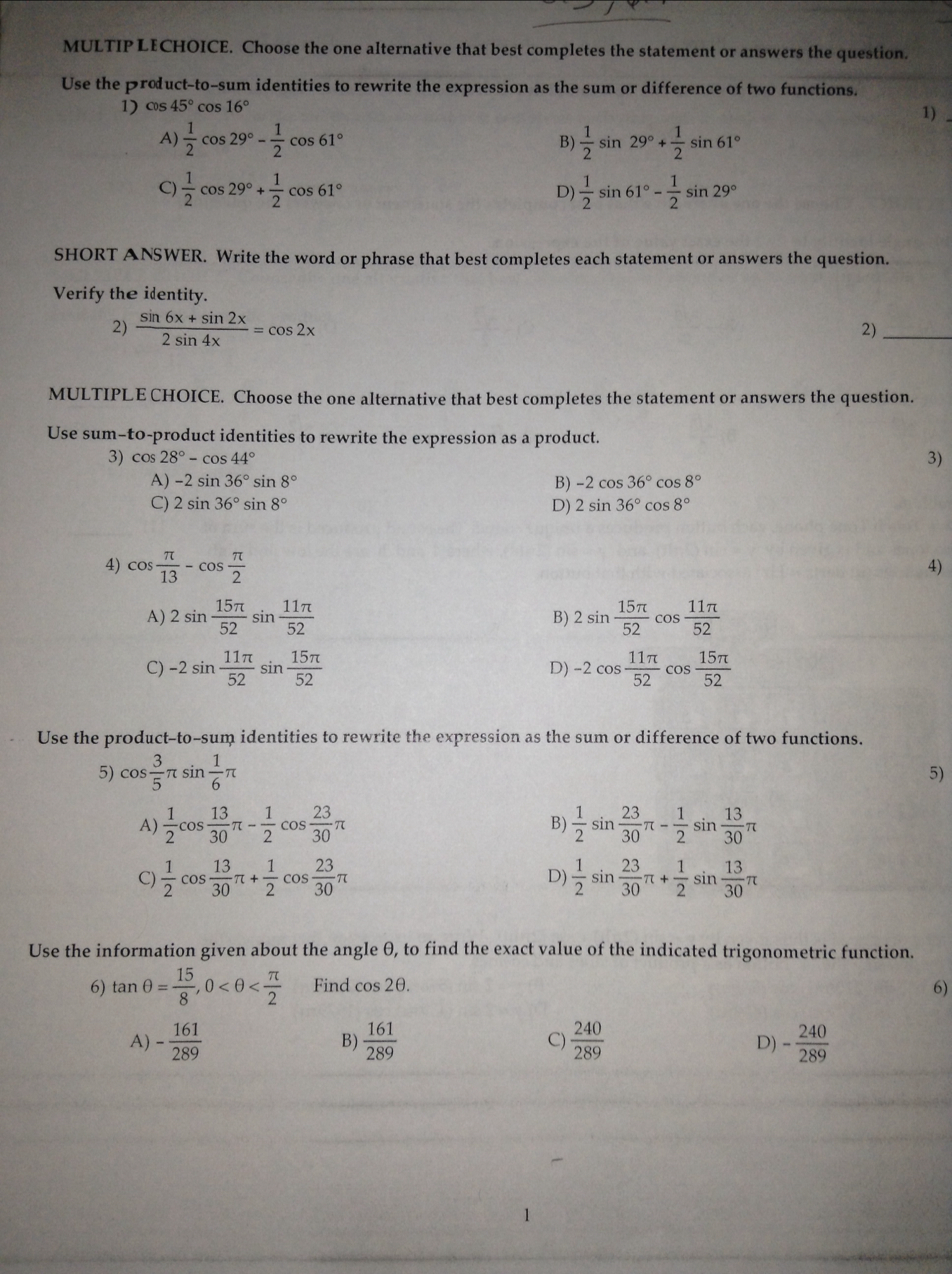 Homework help precalculus