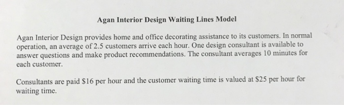 Solved Agan Interior Design Waiting Lines Model Agan Inte