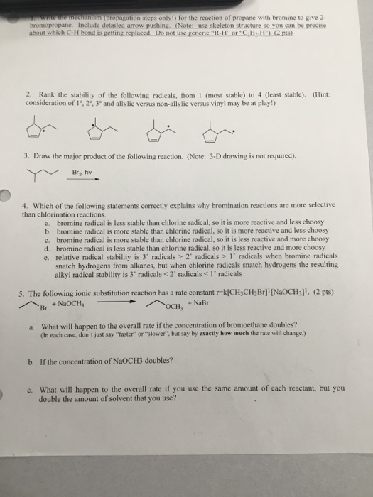 Solved Pagation Steps Only For The Reaction Of Propane