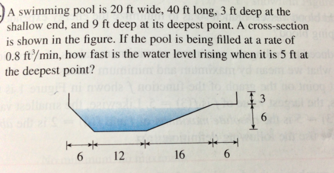a swimming pool is 20 ft wide 40 ft long 3 ft