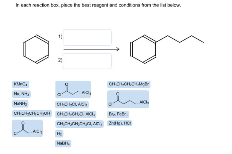in each reaction box place the best reagent and conditions from the list below oh-#13