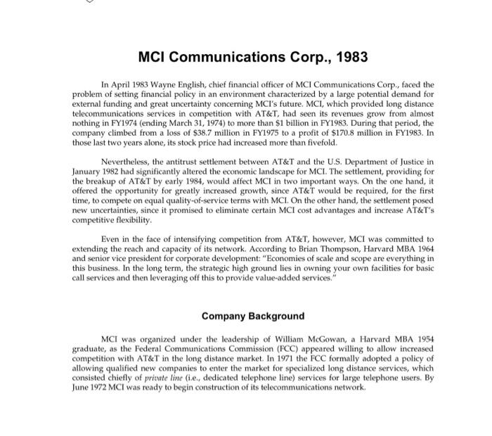 Mci communications corporation essay
