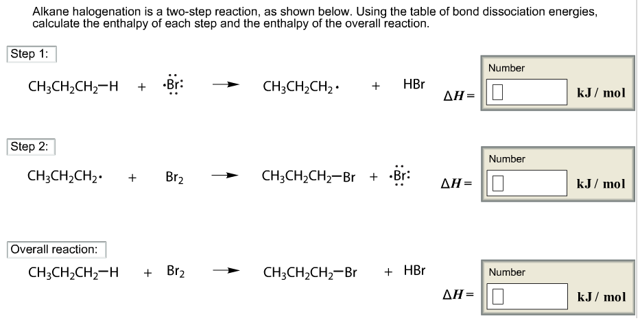 Alkane halogenation is a two step reaction as for Delta s table chemistry
