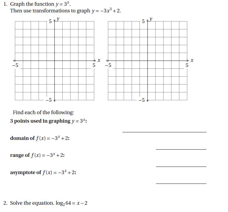 Transformation of Exponential Functions  Examples   Summary     Chegg