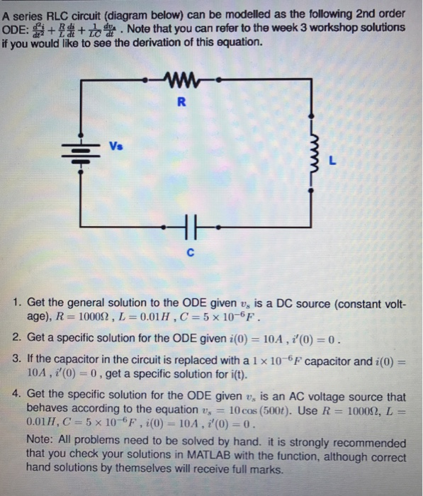 Solved  A Series Rlc Circuit  Diagram Below  Can Be Modell