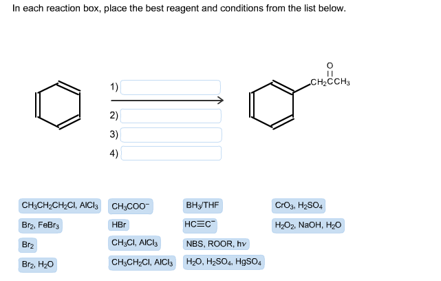 in each reaction box place the best reagent and conditions from the list below oh - photo #8