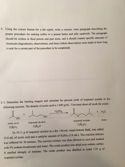 Solved: Using The Correct Format For A Lab Report, Write A ...