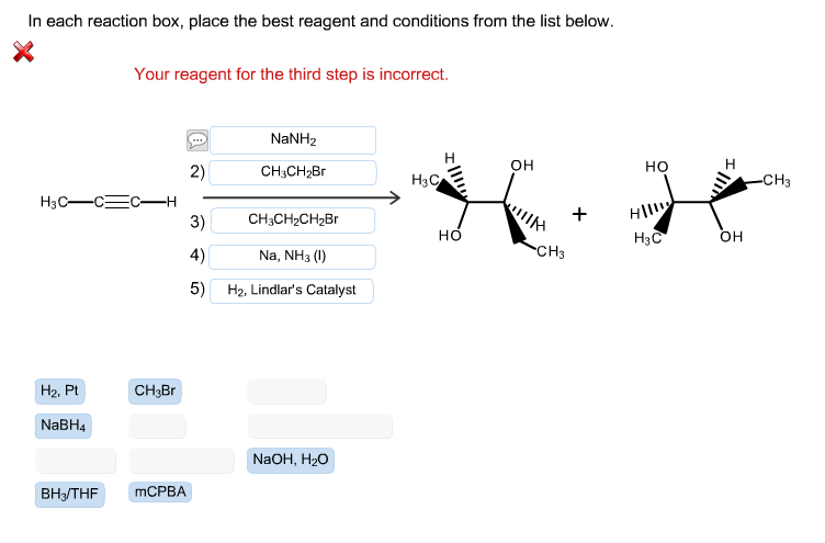 in each reaction box place the best reagent and conditions from the list below oh-#27