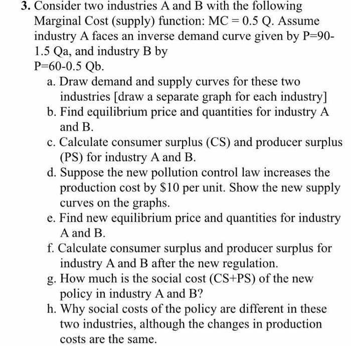 Solved Consider Two Industries A And B With The Following