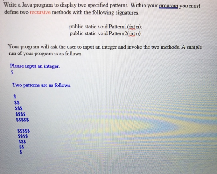 write a program to display the following pattern in c