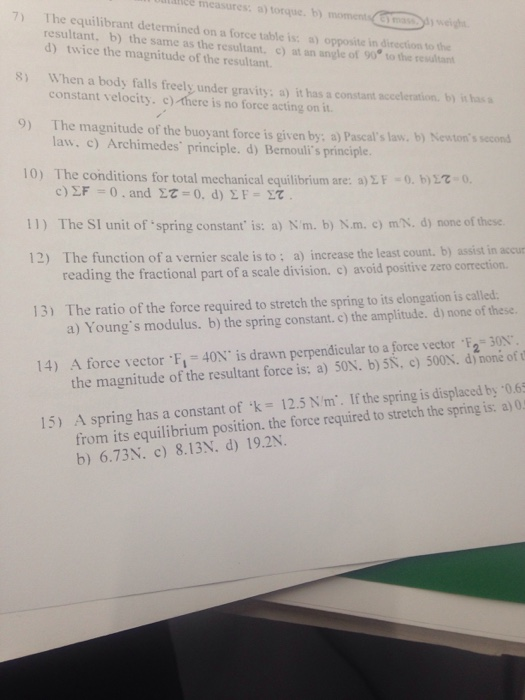 resultant and equilibrant relationship quizzes