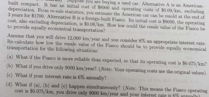 Solved assume that you will drive 12 000 km year and you for Operating costs of a motor vehicle answer key