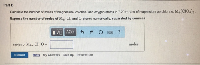 Magnesium chlorine and hydrogen moles