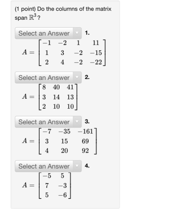 how to solve if vectors span r3