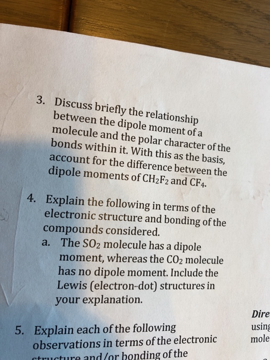discuss briefly the relationship between dipole moment