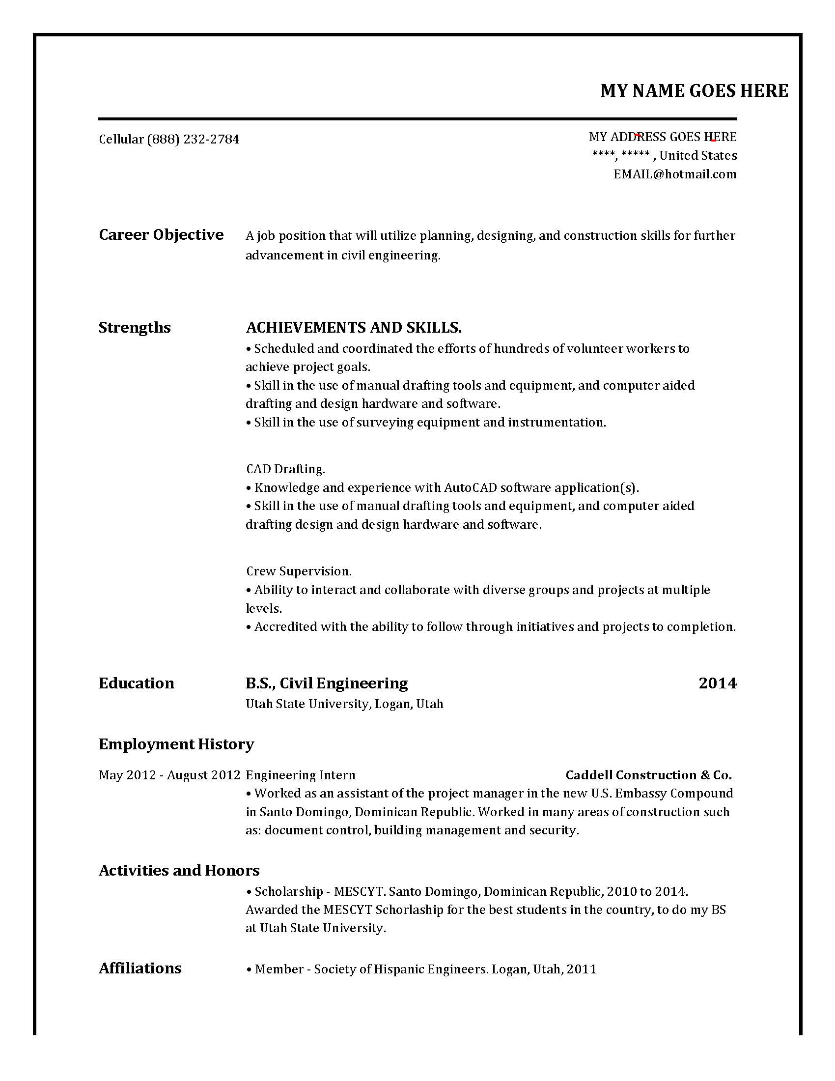 Teaching Resume Template -Sample, Example