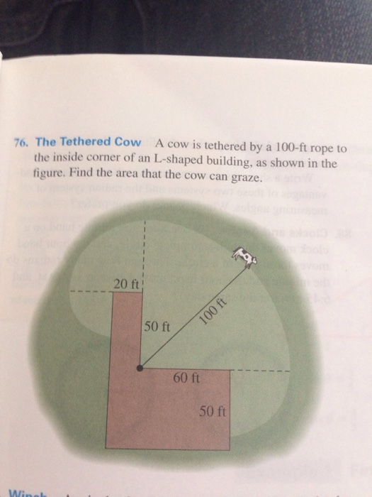 Solved the tethered cow a cow is tethered by a 100 ft rop for Find a builder in your area