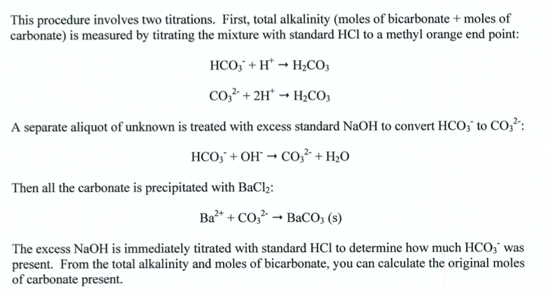 alkalinity titration Alkalinity calculation methods several methods are used by the alkalinity calculator to determine the carbonate and bicarbonate endpoints of your titration data.