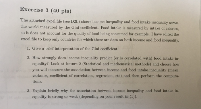 Exercise 3 40 pts the attached excel file see d - Coefficient bac pro cuisine ...