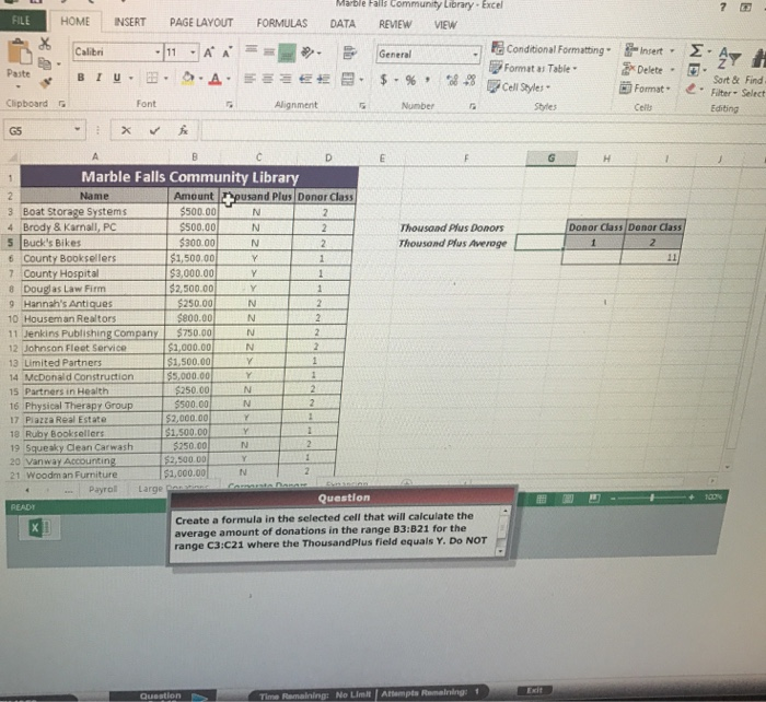 Create A Formula In The Selected Cell That Will Ca