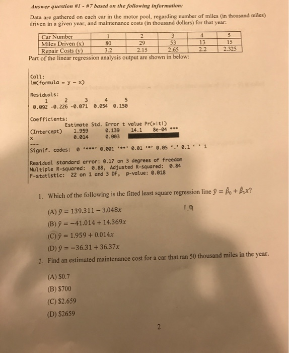 Solved answer question ni m7 based on the following infor for Operating costs of a motor vehicle answer key