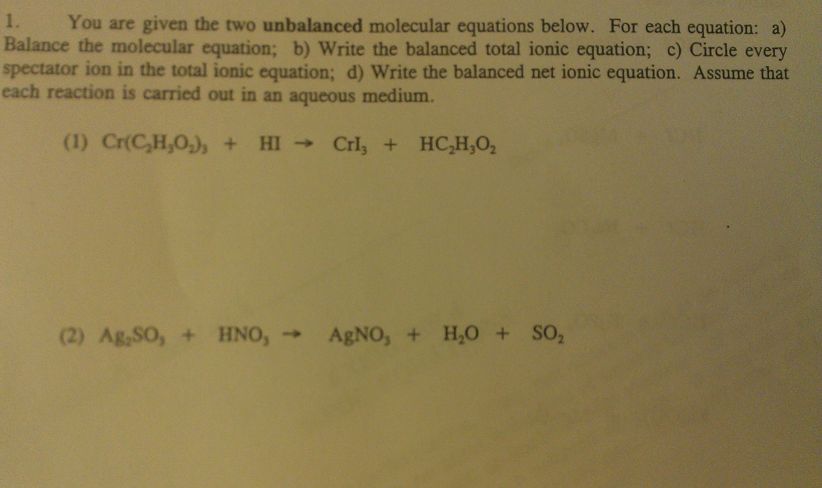 How to write balanced molecular equations for eactions