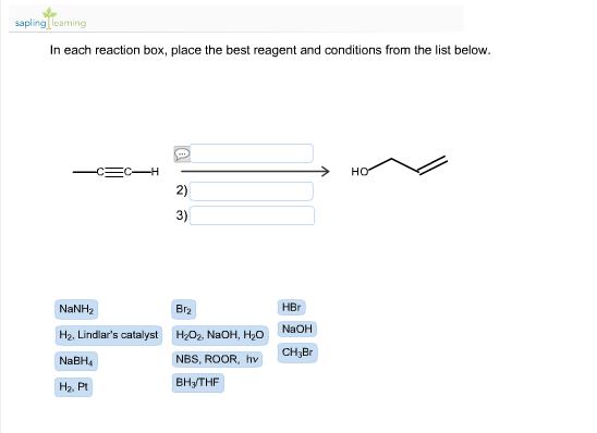 in each reaction box place the best reagent and conditions from the list below oh - photo #14