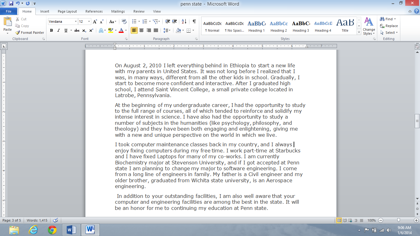 Starting personal statement