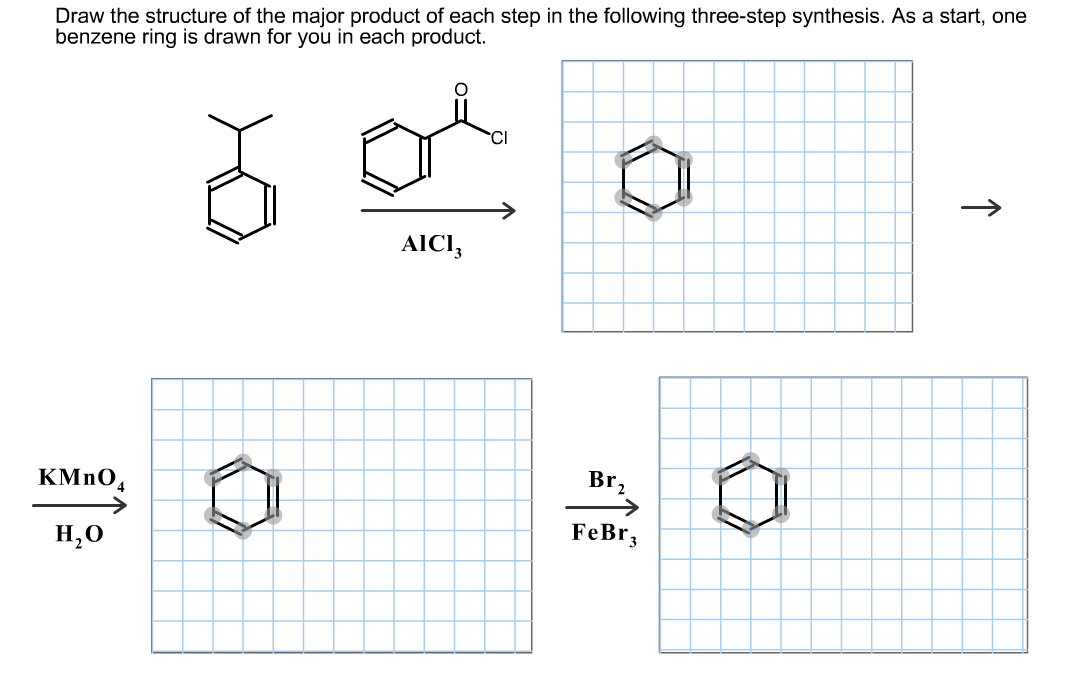 Structure of the major product of each step in thefollowing three step