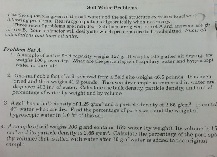 Soil water problems problem set a 1 a sample of for Soil questions