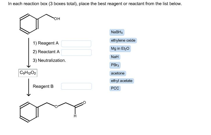 in each reaction box place the best reagent and conditions from the list below oh-#28