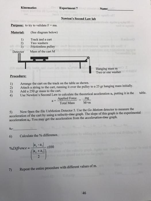 Kinematics Experiment 7 Name Newton U0026 39 S Second Law L