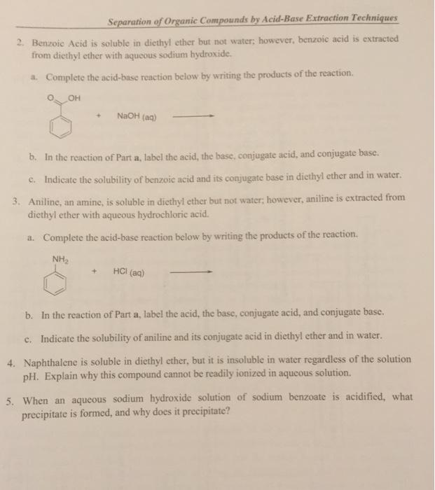 Acid/Base Extraction of a Benzoic Acid, 4-Nitroaniline, and Naphthalene Mixture