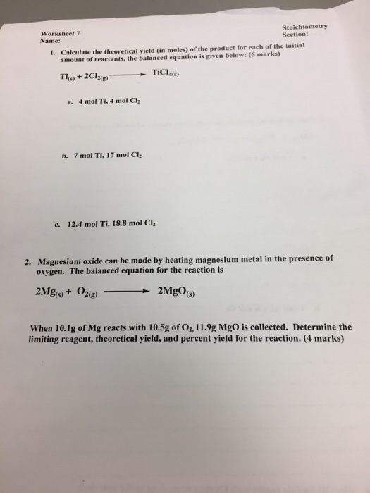 Solved Stoichiometry Section Worksheet 7 Name Calculate